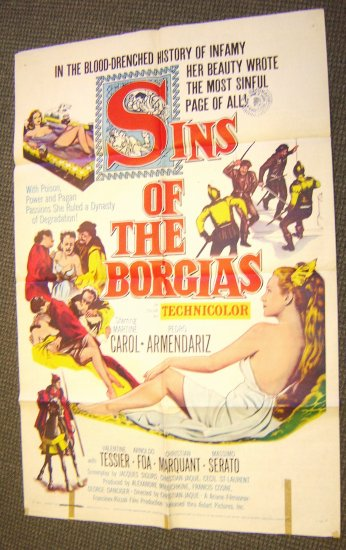 SINS OF BORGIAS Original 1-Sheet  Pictures POSTER Italy