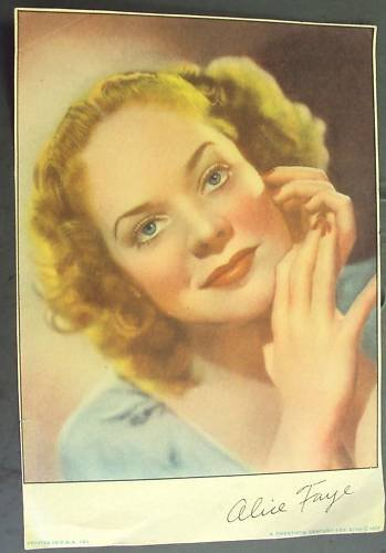 ALICE FAYE Original 1938 Pinup PHOTO Headhsot Page 20th