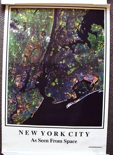 NEW YORK CITY Manhattan Satelite Space NY  POSTER 1989