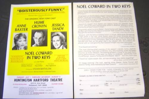NOEL COWARD In Two Keys FLYER Ann Baxter JESSICA TANDY