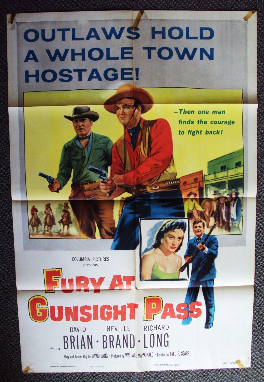 FURY AT GUNSIGHT PASS Western Poster DAVID BRIAN Cowboy