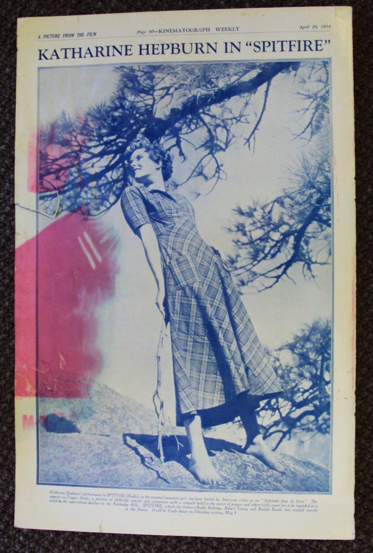 KATHARINE HEPBURN Original 1934 Photo TRADE-AD Spitfire