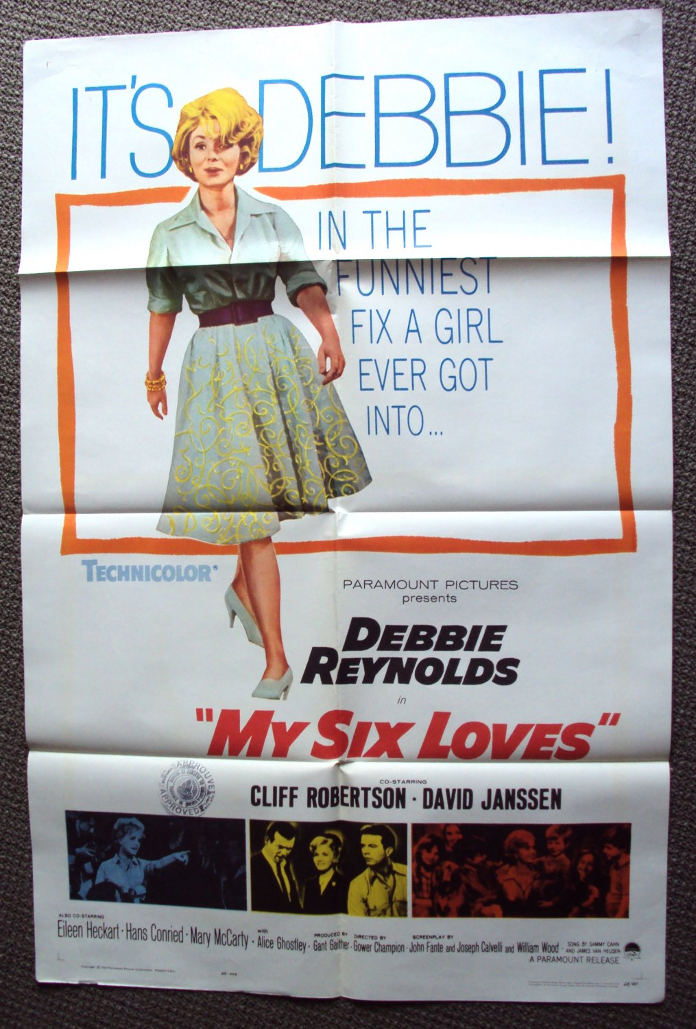 MY SIX LOVES Poster DAVID JANSSEN Debbie Reynolds 1963
