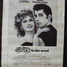 GREASE Advertising Vintage POSTER Olivia Newton-John JOHN TRAVOLTA Musical