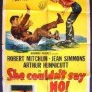 JEAN SIMMONS Robert Mitchum SHE COULDN'T SAY NO Original 1-Sheet Movie Poster