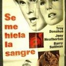 TROY DONAHUE Joey Heatherton MY BLOOD RUNS COLD 1-Sheet Poster ORIGINAL Thriller