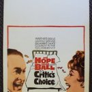 LUCILLE BALL Bob Hope Original CRITIC'S CHOICE Window Card Movie POSTER 1963