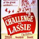 LASSIE Collie DOG Original 1949 Challenge to Lassie 1-Sheet  MGM Poster M.G.M.
