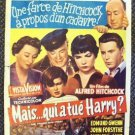 ALFRED HITCHCOCK The TROUBLE WITH HARRY Original BELGIUM Poster John Forsythe 55