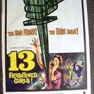 13 FRIGHTENED GIRLS! William Castle ORIGINAL 1-Sheet Movie POSTER Thirteen 1959
