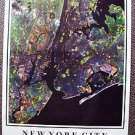 NEW YORK CITY Manhattan Satelite Space NY POSTER 1989 NYC Big Apple Photo image!