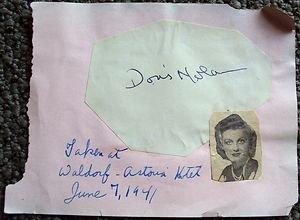 DORIS NOLAN Original SIGNED in PERSON Autograph Page WALDORF ASTORIA June 1941