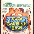 LOVE IN GOLDFISH BOWL Original Window Card POSTER Tommy Sands FABIAN