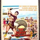 STEVE REEVES The SLAVE Son of SPARTACUS Original WINDOW CARD POSTER Sword Sandal