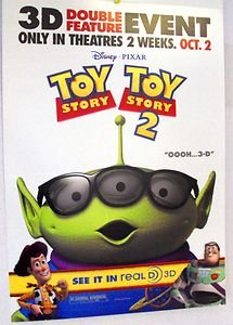 Toy Story 3-D  Promo Cardboard PIXAR  POSTER ALIEN  Cowboy Woody BUZZ LIGHTYEAR