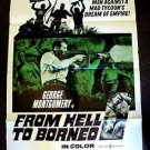 FROM HELL TO BORNEO Original 1-Sheet Movie POSTER of GEORGE MONTGOMERY 1967 War