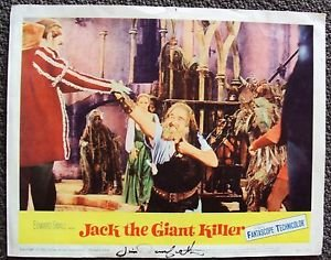 JIM DANFORTH Signed in Person AUTOGRAPH Lobby Card JACK THE GIANT KILLER  1962