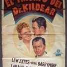 DR. KILDARE'S CRISIS Spanish 1-SHEET Poster LEW AYRES Laraine Day ROBERT YOUNG