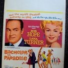 BACHELOR IN PARADISE Original WINDOW CARD Poster LANA TURNER Bob Hope JIM HUTTON