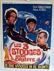 THREE STOOGES in ORBIT Original BELGIUM Poster LARRY Moe CURLY 3 SCI-FI Columbia