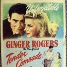 GINGER ROGERS Tender Comrade ROBERT RYAN Original WINDOW CARD Poster RKO Picture