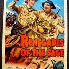 JOCK MAHONEY Signed Autograph RENEGADES OF THE SAGE Movie Poster SMILEY BURNETTE