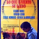 GONE WITH THE WIND Vintage SPANISH Poster CLARK GABLE Vivien Leigh M.G.M MGM '74