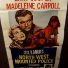 NORTH WEST MOUNTED POLICE Gary Cooper 3-Sheet Movie POSTER Madeleine Carroll