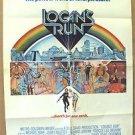 LOGAN'S RUN Original M.G.M. Sci-Fi 1-Sheet POSTER Michael York  JENNY AGUTTER 76