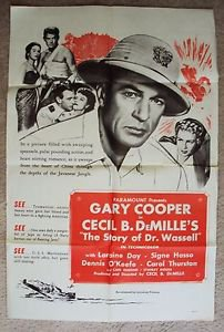 GARY COOPER The STORY OF DR WASSELL 1-Sheet Movie Poster CECIL B. DeMILLE 50's