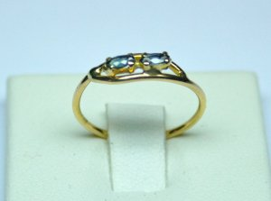 MADE IN ITALY VALENZA 18K YELLOW GOLD RING WITH TWO SAPPHIRES 0.12 EACH LUCA PREZIOSI