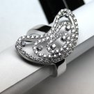 MADE IN ITALY VALENZA 18K WHITE GOLD RING, HALF MOON WITH 0.73 kt DIAMONDS LUCA PREZIOSI