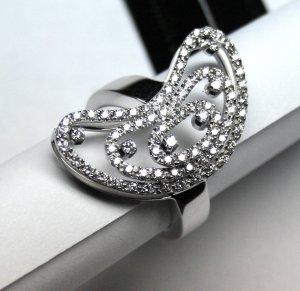 MADE IN ITALY VALENZA 18K WHITE GOLD RING, HALF MOON WITH 0.73 kt DIAMONDS LUCA PREZIOSI