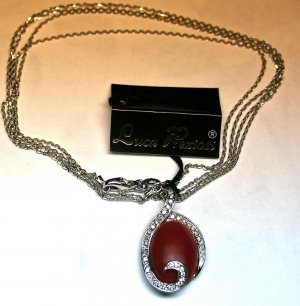 MADE IN ITALY VALENZA 18K WHITE GOLD CHAIN WITH CORAL AND DIAMONDS PENDANT