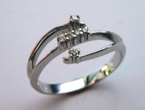 MADE IN ITALY VALENZA 18K GOLD 0.05 KT DIAMOND RING A121630 BUZIO LUCIANO