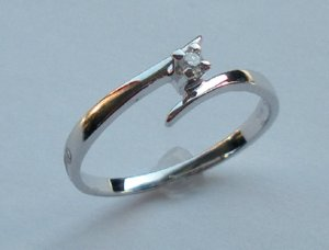 MADE IN ITALY VALENZA 18K GOLD 0.04 KT DIAMOND RING A122860 BUZIO LUCIANO