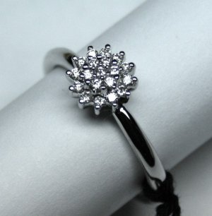 MADE IN ITALY VALENZA 18K WHITE GOLD TUFT RING WITH 0.46 KT DIAMONDS LUCA PREZIOSI