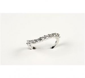 MADE IN ITALY STERLING SILVER FASHION WOMAN'S RING WITH IMITATION DIAMONDS (CZ)