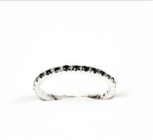 MADE IN ITALY STERLING SILVER FASHION WOMAN'S RING WITH BLACK IMITATION DIAMONDS (CZ)