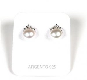 MADE IN ITALY STERLING SILVER 925 WOMAN'S EARRINGS WITH NATURAL PEARLS AND IMITATION DIAMONDS (CZ)
