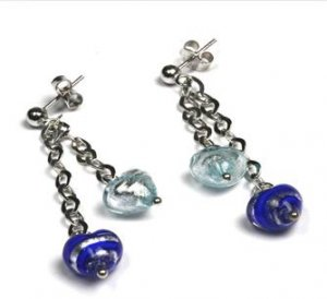 MADE IN ITALY STERLING SILVER 925 EARRINGS WITH VENICE MURRINE CHARMS