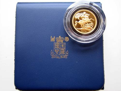 1979  British Gold Sovereign Proof Coin with Leatherette