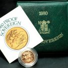 1980 British Gold Sovereign Proof Coin with COA & Leatherette