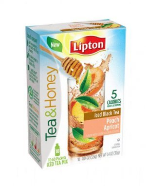 NEW Lipton To Go Stix Iced Black Tea Mix Tea and Honey Peach Apricot 10 ct box