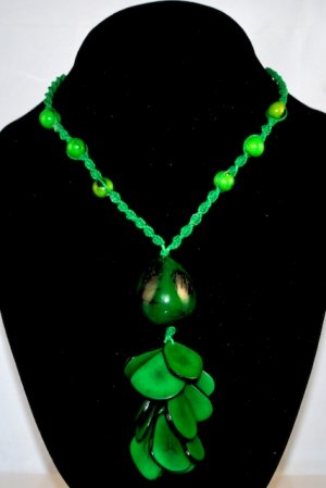 Handmade Lime Green Tagua Acai Seeds Beaded Necklace