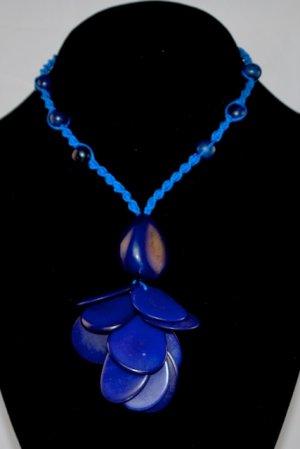 Handmade Indigo Blue Tagua and Acai Seeds Beaded Petals Necklace