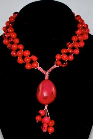 Raspberry Red Handmade Acai and Tagua Seeds Beaded Diva Necklace