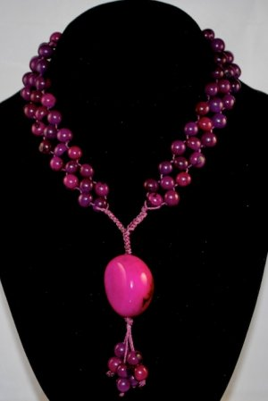 Violet Purple Handmade Seeds Beaded Diva Necklace