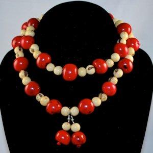 Handmade Crimson Red and Ivory Cream Beaded Necklace/Earrings Set