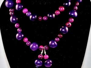 Purple Handmade Seeds Beaded Necklace and Earrings Set